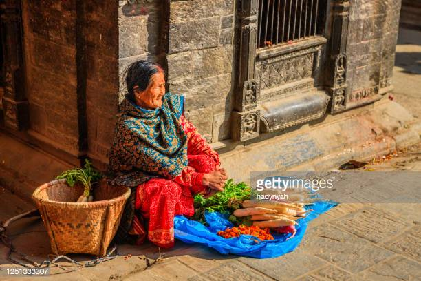 nepali street seller selling vegetables in patan, nepal - nepalese ethnicity stock pictures, royalty-free photos & images