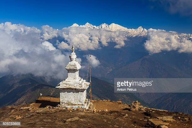 nepali temple in the mountains - anton petrus stock pictures, royalty-free photos & images