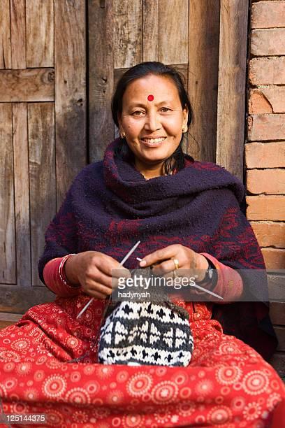 Nepali woman  kniting wool hat. Bhaktapur.