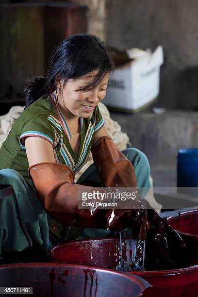 Nepali woman works with dyed material at Womens Skills Development Project in Pokhara Nepal The WSDP was set up in 1975 as a nonprofit fair trade...