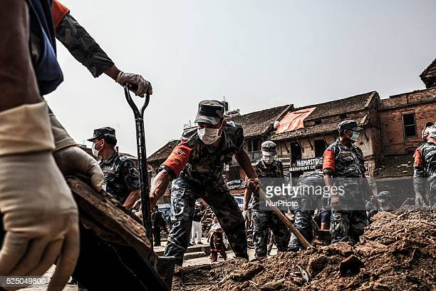 Nepalise army cleaning the Basatntipor Durbar square Nepal May 9 2015
