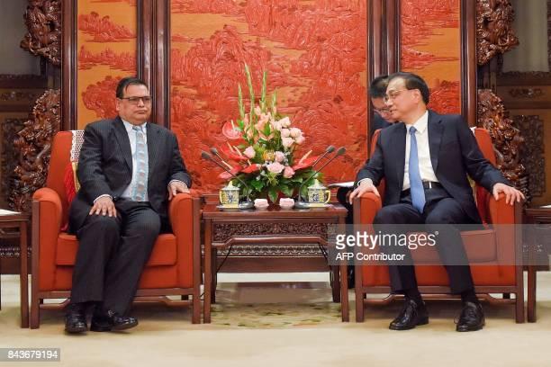 Nepal's Deputy Prime Minister Krishna Bahadur Mahara attends a meeting with China's Premier Li Keqiang at Zhongnanhai Leadership Compound in Beijing...
