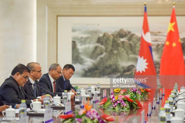 Nepal's Deputy Prime Minister Krishna Bahadur Mahara speaks during his meeting with the Chinese foreign minister at the Ministry of Foreign Affairs...