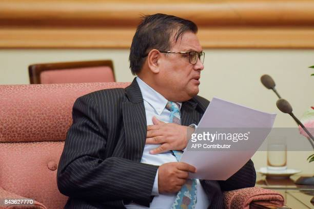 Nepal's Deputy Prime Minister Krishna Bahadur Mahara speaks during his meeting with China's state councilor at the Zhongnanhai Leadership Compound in...