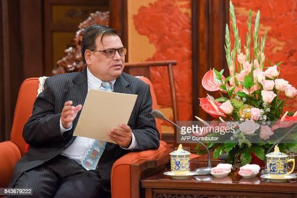 Nepal's Deputy Prime Minister Krishna Bahadur Mahara speaks during his meeting with China's Premier Li Keqiang at Zhongnanhai Leadership Compound in...