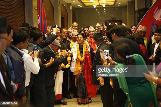 Nepal's first elected woman president Bidhya Bhandari is seen after she is elected as New President of Nepal at the parliament in Kathmandu Nepal 28...