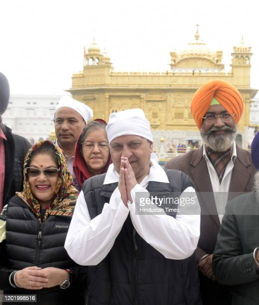 Nepals last king Gyanendra Bir Bikram Shah Dev pays obeisance with his family members, at Golden Temple on February 20, 2020 in Amritsar, India.