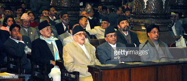Nepal's Prime Minister Girija Prasad Koirala and other lawmakers wait for parliaments decision on the abolition of the monarchy and declaring country...