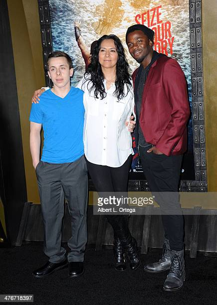 Nephew Noah Montgomery actress Sophia Adella Hernandez and actor/husband Derek Luke arrive for the Premiere Of Warner Bros Pictures And Legendary...