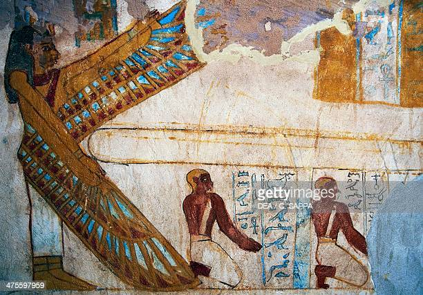 Nephthys and the deceased kneeling detail of a wall painting Tomb of Baenentyu Bahariya Oasis Egypt Egyptian civilisation Saite Period Dynasty XXVI