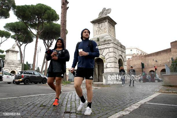 Nepo Laulala and TJ Perenara of the New Zealand All Blacks walk to the gym on November 19 2018 in RomeItaly