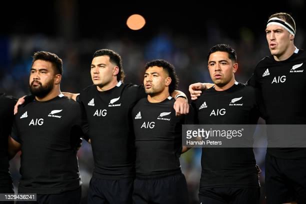 Nepo Laulala, David Havili, Richie Mo'unga, Anton Lienert-Brown and Brodie Retallick sing the national anthem ahead of the International Test Match...