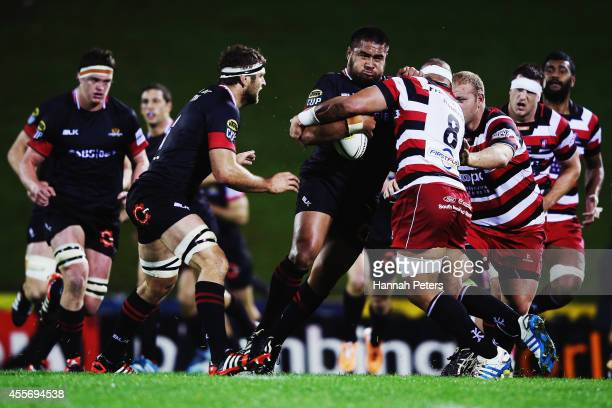 Nepo Laulala of Canterbury charges forward during the round six ITM Cup match between Counties Manukau and Canterbury at ECOLight Stadium on...