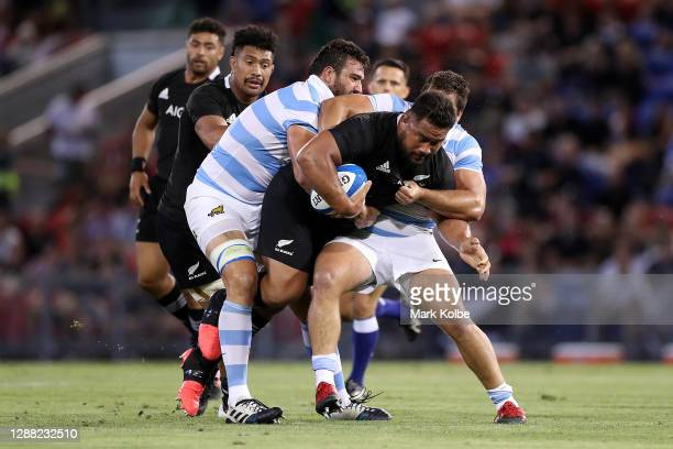 Nepo Laulala of the All Blacks is tackled during the 2020 Tri-Nations match between the Argentina Pumas and the New Zealand All Blacks at McDonald...