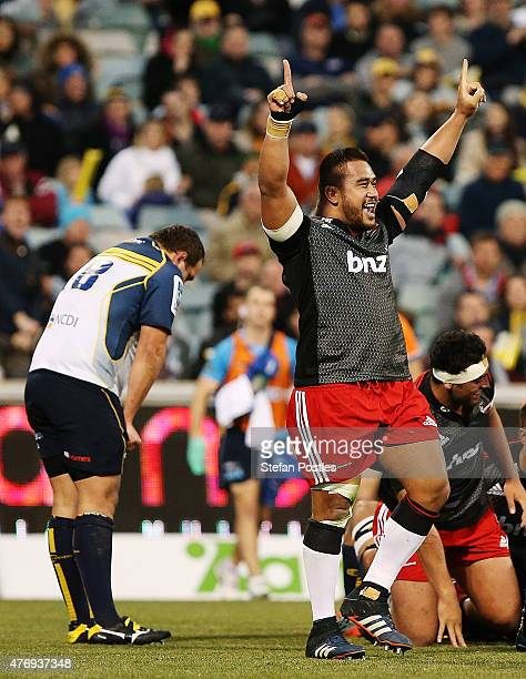 Nepo Laulala of the Crusaders reacts after Crusaders score a try to secure the match during the round 18 Super Rugby match between the Brumbies and...
