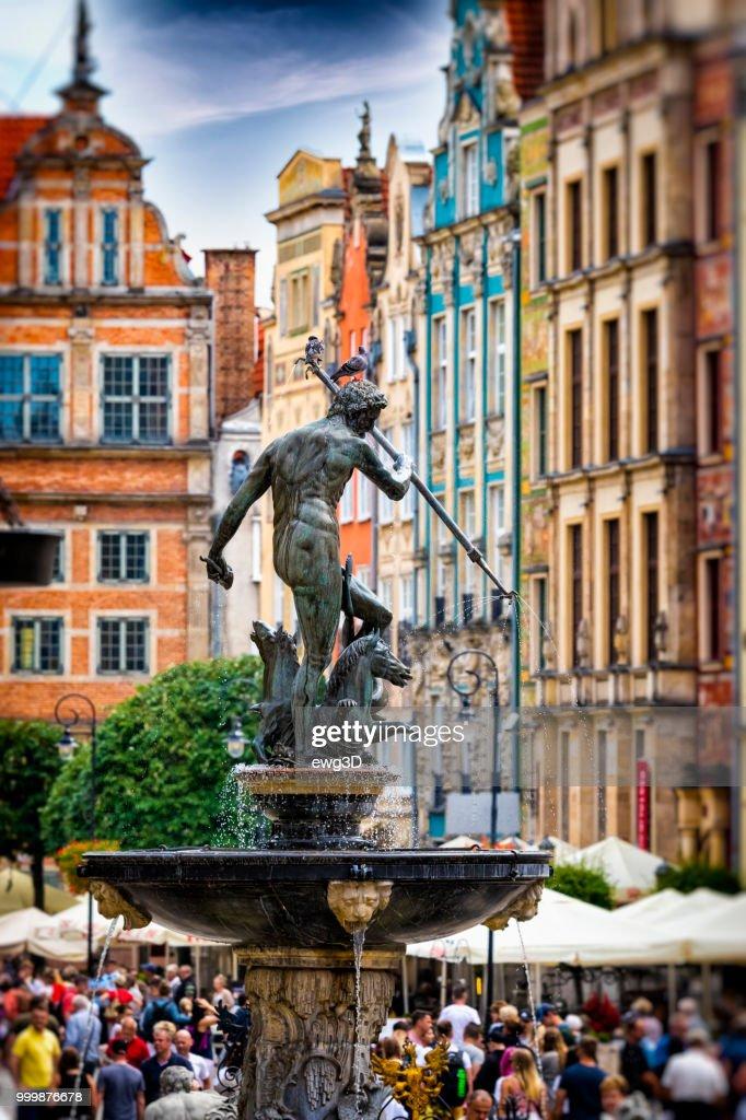 Neptun fuente, Gdansk, Polonia : Foto de stock