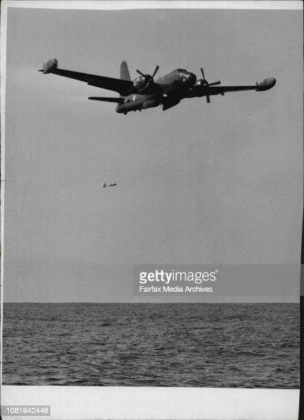 A Neptune Bomber dropping the 1st of which acted as a 'Ditched' aircraft March 26 1957