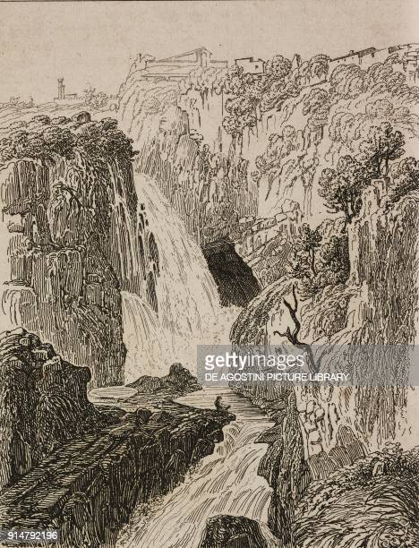 Neptune cave in Tivoli Lazio Italy engraving by Lemaitre from Italie by AlexisFrancois Artaud de Montor Sicilie by Gigault de La Salle L'Univers...