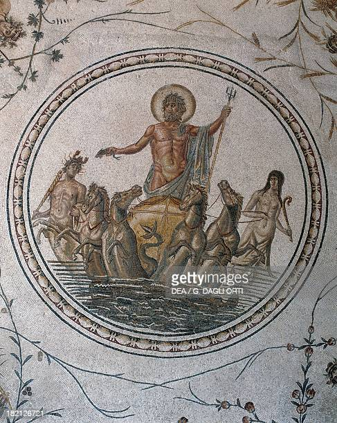 Neptune on a wagon detail of the Triumph of Neptune mosaic uncovered in La Chebba Tunisia Roman Civilisation mid2nd century Tunis Musée National Du...