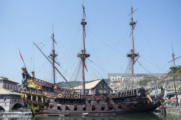 neptune (galleon) ship replica outside the aquarium of genoa - galleon stock photos and pictures