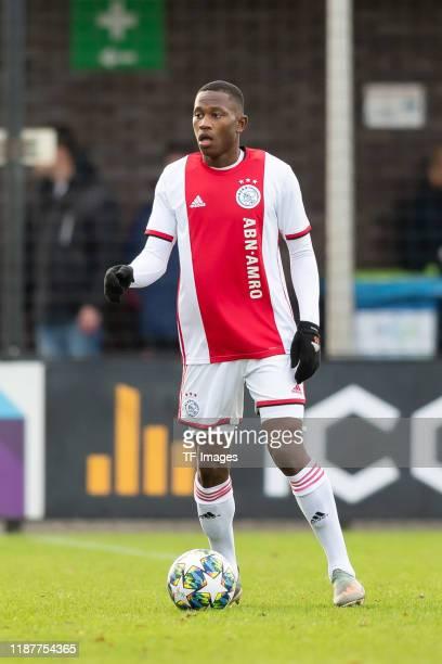 Neraysho Kasanwirjo of Ajax Amsterdam U19 controls the ball during the UEFA Youth League match between Ajax Amsterdam U19 and FC Valencia U19 on...