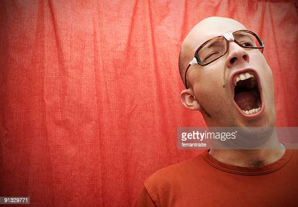 nerd 5 - ugly bald man stock pictures, royalty-free photos & images