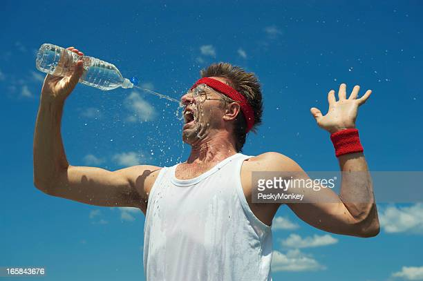 Nerd Athlete Splashes His Face with Water