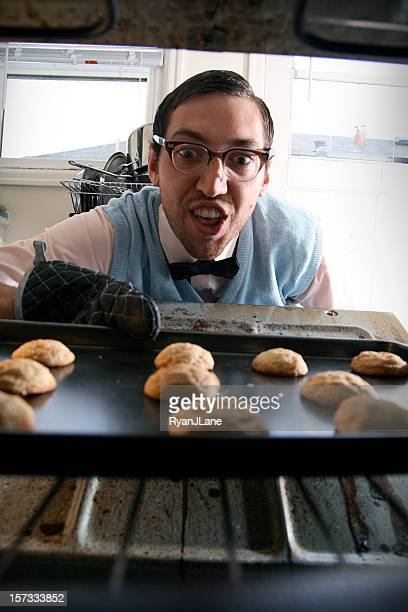nerd baking cookies - snickerdoodle stock pictures, royalty-free photos & images