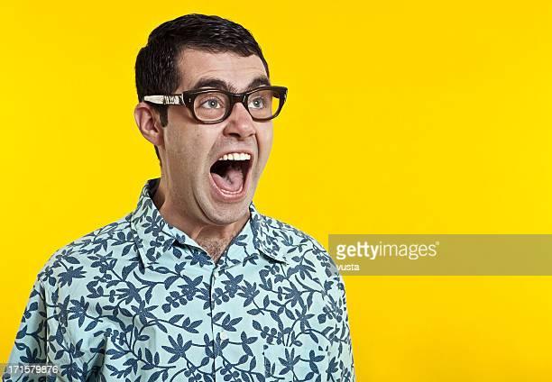 nerd boy screaming