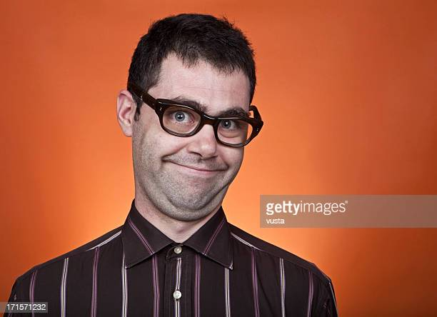 nerd boy with a funny smile