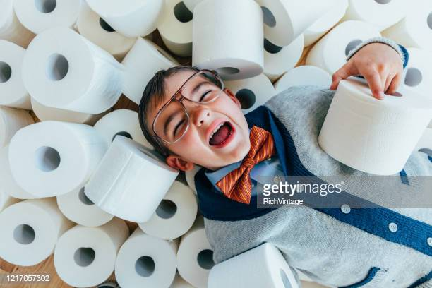 nerd boy with toilet paper - funny toilet paper stock pictures, royalty-free photos & images