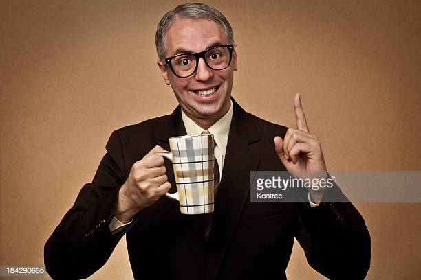 nerd businessman drinking coffee - full suit stock pictures, royalty-free photos & images