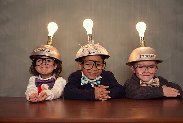 Nerd Children Wearing Lighted Mind Reading Helmets Wall Art