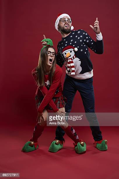 nerd couple during christmas dance. debica, poland.  - anna song imagens e fotografias de stock