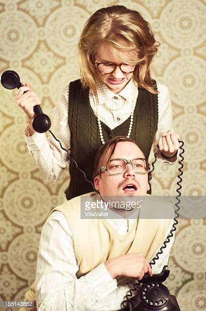 nerd couple in the office - women being strangled stock photos and pictures