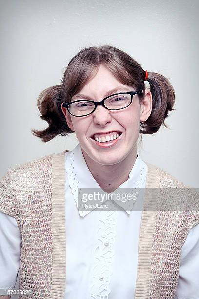 nerd girl highschool picture - girl nerd hairstyles stock photos and pictures