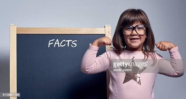 nerd girl smiling at camera