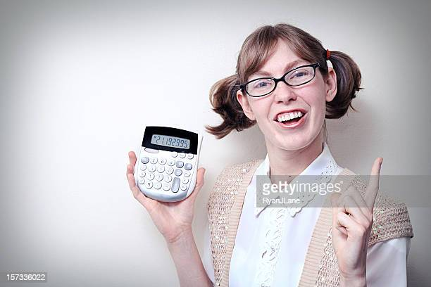 nerd girl with calculator and copy space - girl nerd hairstyles stock photos and pictures