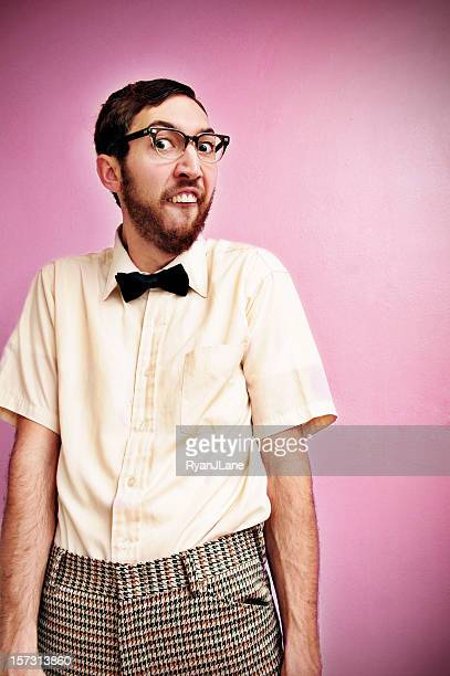 Nerd Guy With Glasses, Bow Tie, and Pink Background
