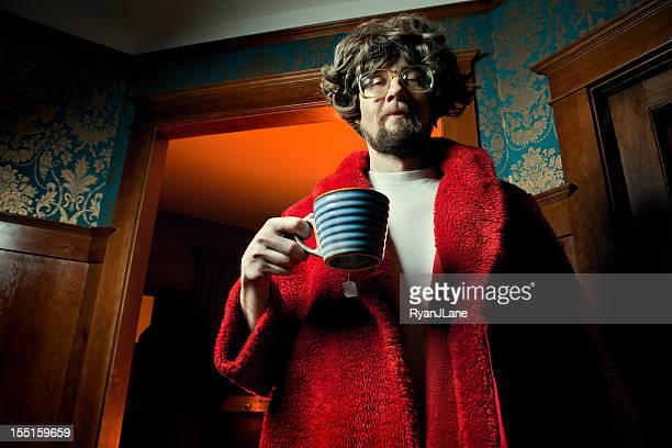 nerd man in bathrobe with morning coffee - ugly wallpaper stock photos and pictures