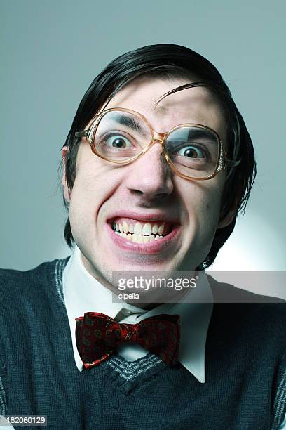 nerd - ugly teeth stock photos and pictures