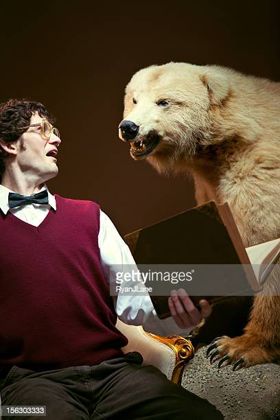 nerd student attacked by bear - animals attacking stock pictures, royalty-free photos & images