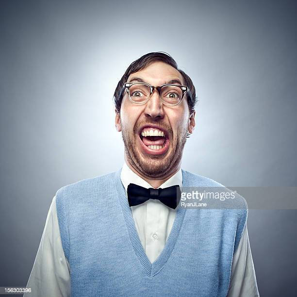 nerd student making a funny smiling face - ugly people stock photos and pictures