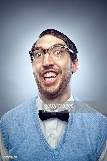 nerd student making a funny smiling face - nerd stock pictures, royalty-free photos & images