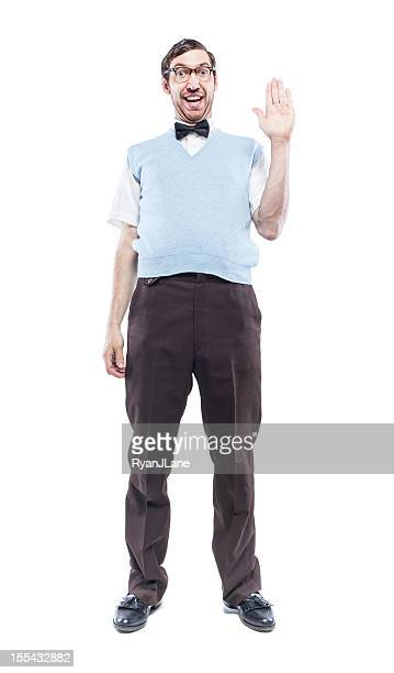nerd student saying hi - nerd stock pictures, royalty-free photos & images