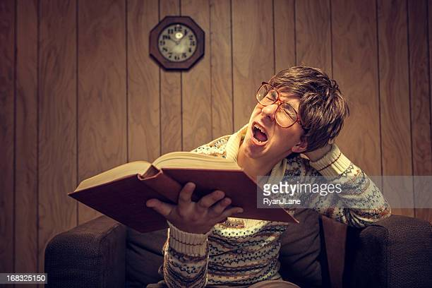 nerd student studying in vintage room - ugly kids stock photos and pictures