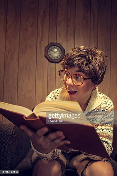 nerd student studying in vintage room - reading england stock pictures, royalty-free photos & images