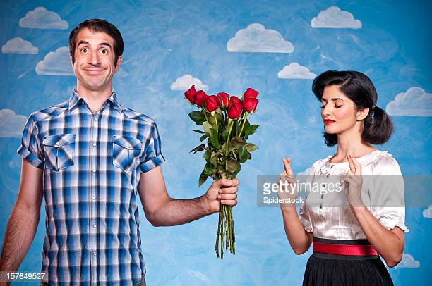 Nerd With Red Roses On A Date
