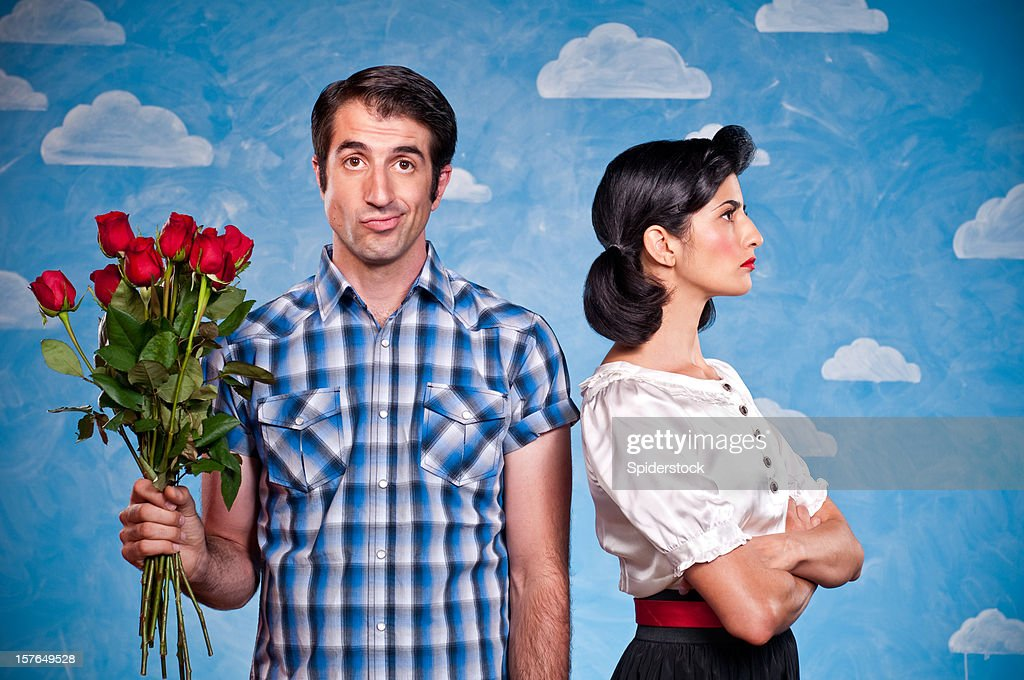 Nerd With Red Roses On A Date : Stock Photo