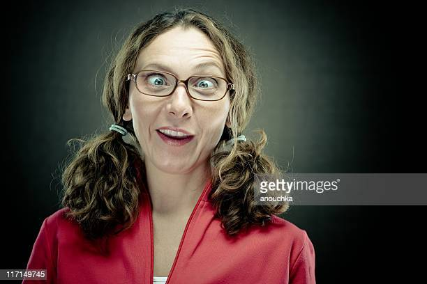 nerd woman portrait - very ugly women stock photos and pictures